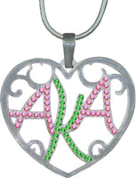 Alpha Kappa Alpha Ladies Crystal Filigree Heart Necklace