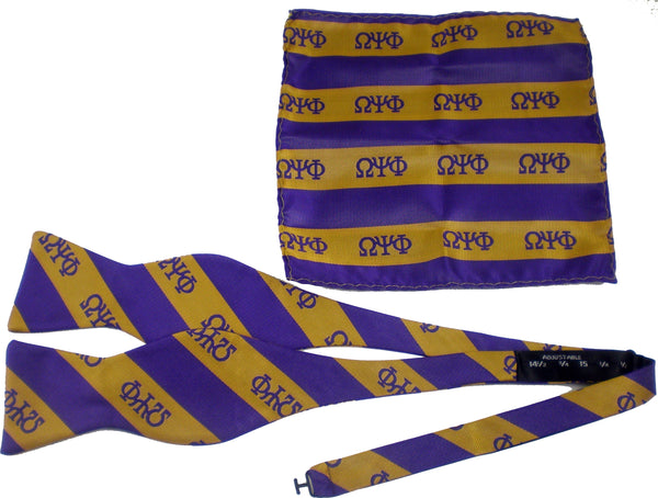Omega Psi Phi Striped Mens Bow Tie & Handkerchief Set