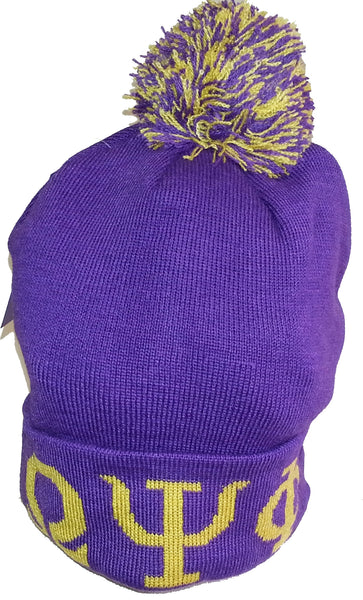 Omega Psi Phi Knit Cuff Mens Beanie Cap with Ball