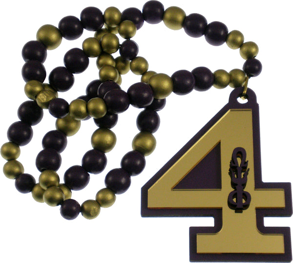 Omega Psi Phi Line #4 Mirror Wood Color Bead Tiki Necklace