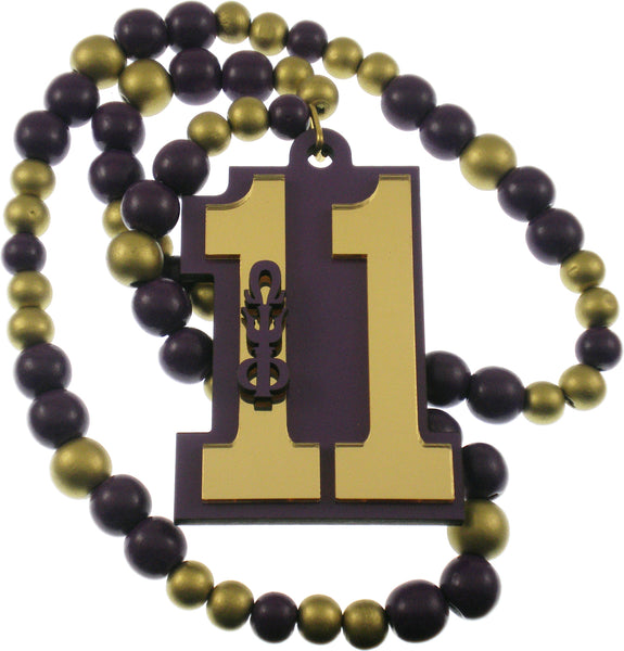 Omega Psi Phi Line #11 Mirror Wood Color Bead Tiki Necklace