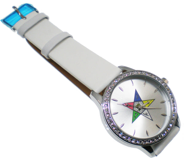 Order of the Eastern Star Sorority Symbol Leather Band Watch