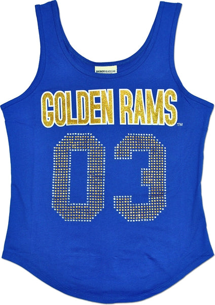 Albany State Golden Rams S2 Rhinestone Ladies Tank Top