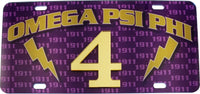 Omega Psi Phi Printed Graphic Raised Line #4 License Plate