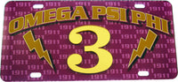 Omega Psi Phi Printed Graphic Raised Line #3 License Plate