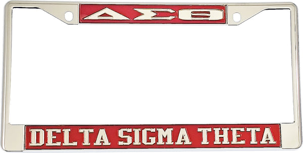 Delta Sigma Theta Classic License Plate Frame [Silver Metal Frame]