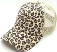 Plain Ponytail Leopard Print Trucker Mesh Ladies Cap