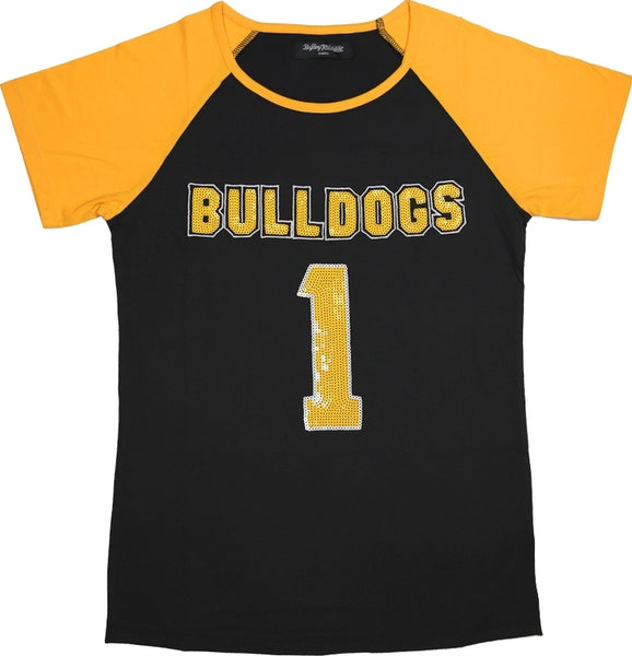 Bowie State Bulldogs Ladies Sequins Patch Tee