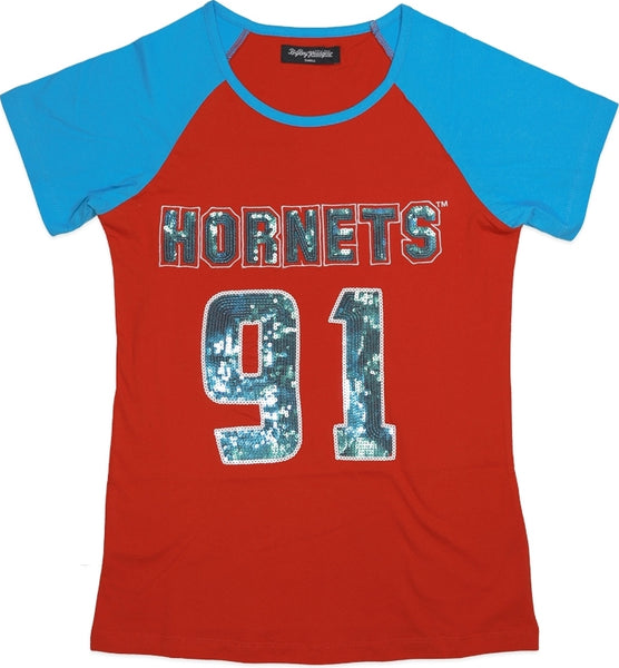 Delaware State Hornets Ladies Sequins Patch Tee