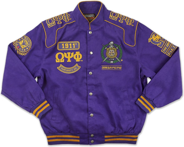 Omega Psi Phi Divine 9 S10 Mens Twill Racing Jacket