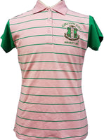 Alpha Kappa Alpha Striped Ladies Polo Shirt with Contrasting Sleeves [Short Sleeve]