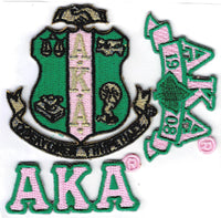 Alpha Kappa Alpha 3-Pack A Embroidered Stick-On Applique Patches