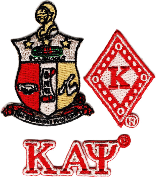 Kappa Alpha Psi 3-Pack A Embroidered Stick-On Applique Patches