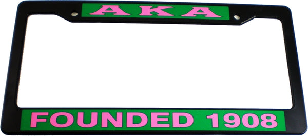 Alpha Kappa Alpha Founded 1908 Text Decal Plastic License Plate Frame
