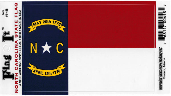North Carolina State Flag Car Decal Sticker [Pre-Pack] [Pre-Pack]