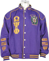 Buffalo Dallas Omega Psi Phi Fraternity Mens Racing Twill Jacket