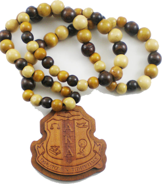 Alpha Kappa Alpha Laser Engraved Crest Wood Bead Tiki Necklace