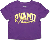 Big Boy Prairie View A&M Panthers Foil Cropped Ladies Tee