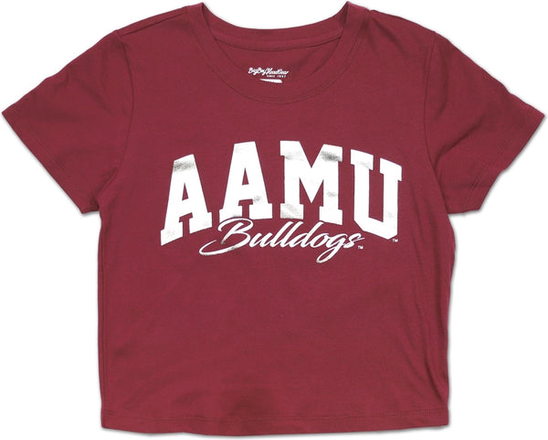 Alabama A&M Bulldogs Foil Cropped Ladies Tee