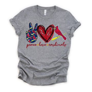 Peace Love Cardinals Graphic T