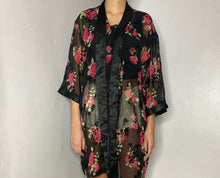 Load image into Gallery viewer, Black Floral Robe Intimate