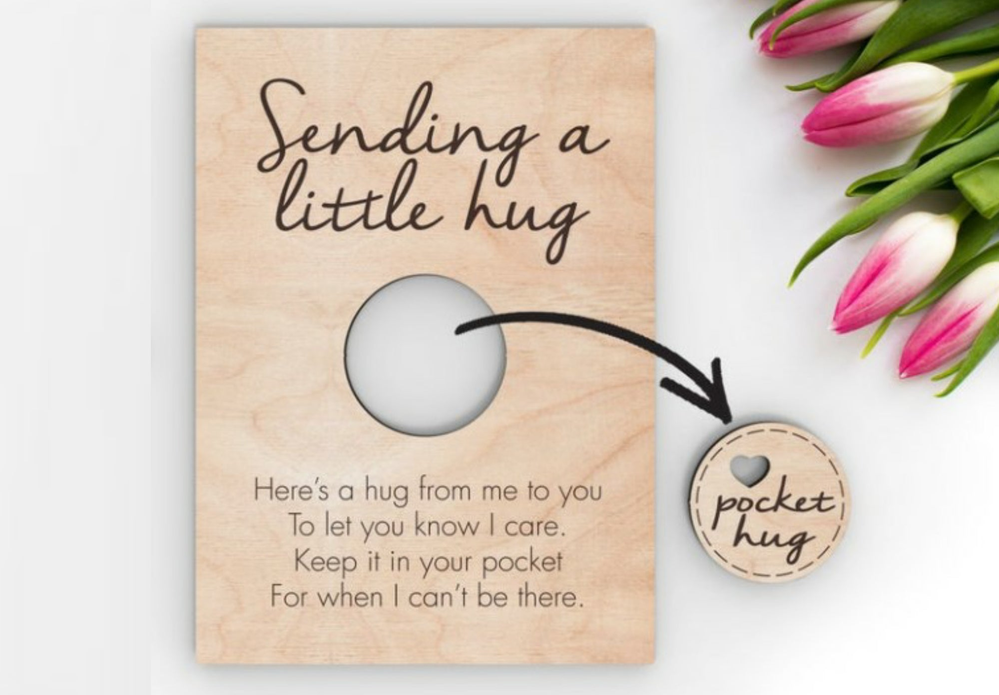 'Sending a Little Hug' Wood Card w/Pop-Out