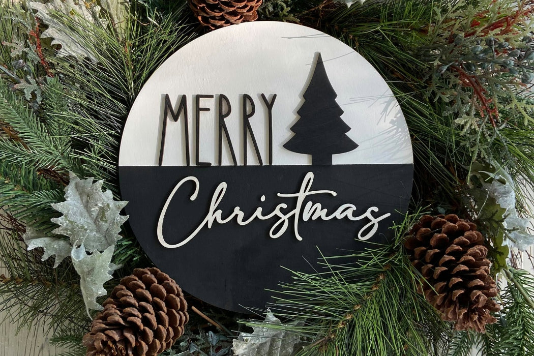 "6"" Round Merry Christmas Sign"