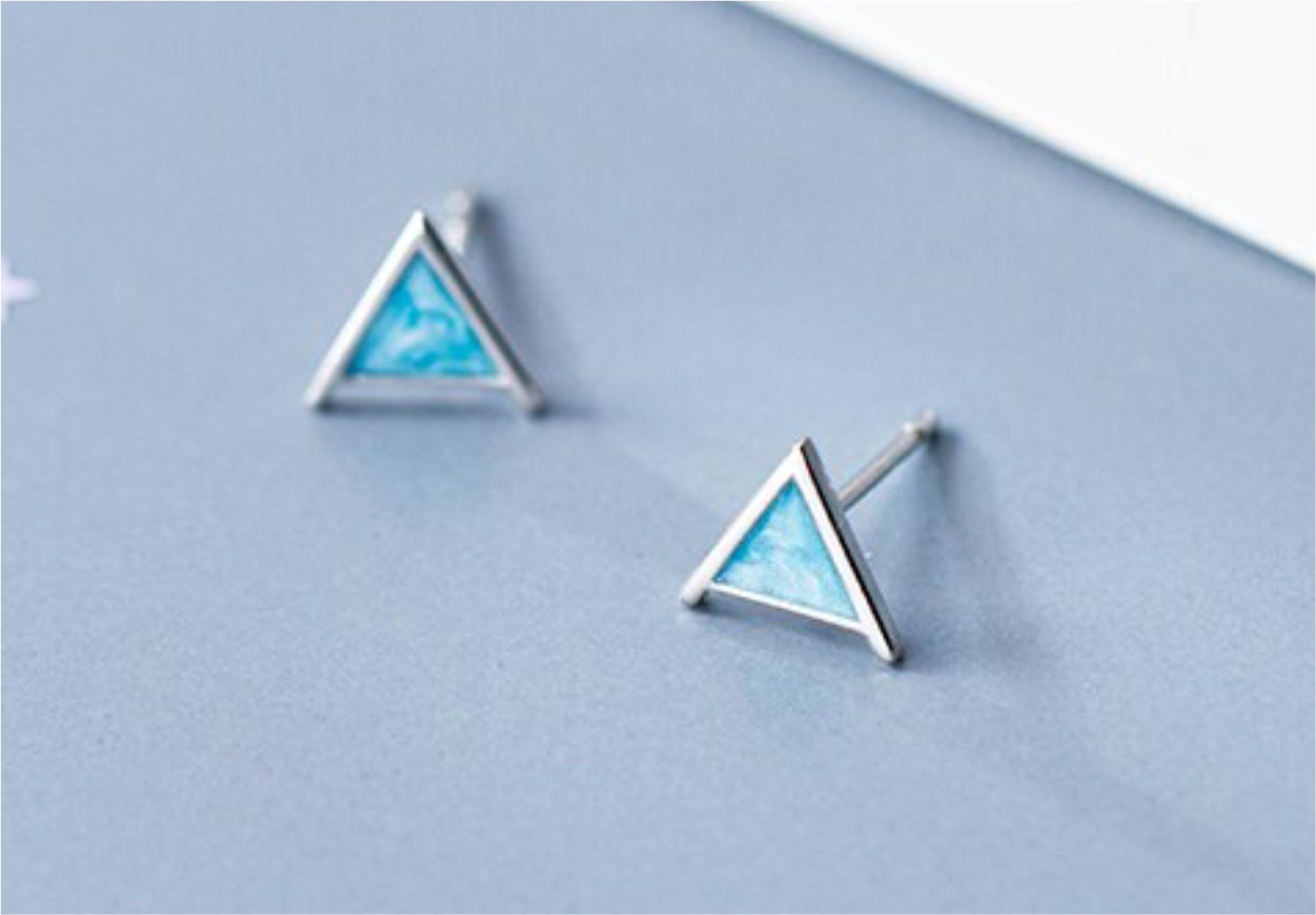 Sterling Silver Dainty Blue Triangle Earrings