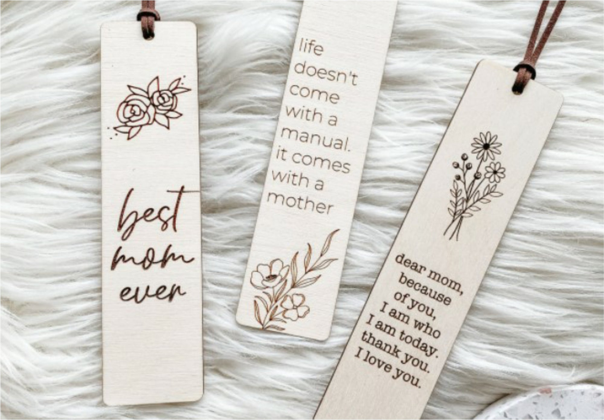 Wood Engraved Bookmarks for Mom