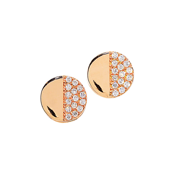Disc Diamond Earring Studs