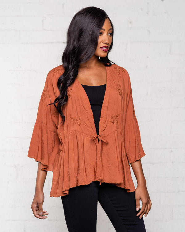 BOHO EMBROIDERED TIE TOP - NUTMEG