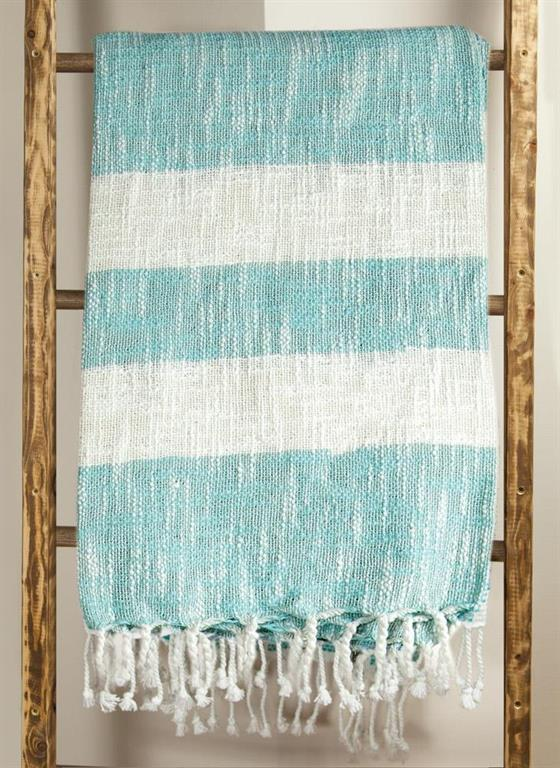 MANUAL WOODWORKERS STRIPE THROW - TURQUOISE