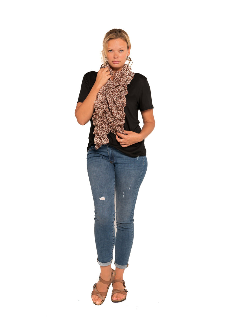 SCARF - ANIMAL PRINT RUFFLED
