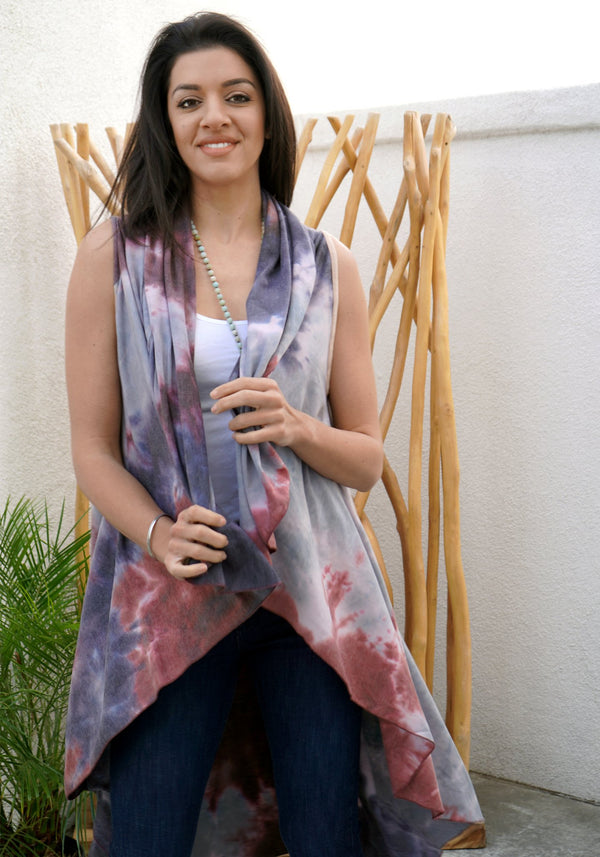 LONG SHAWL - TIE DYE - NAVY PLUM