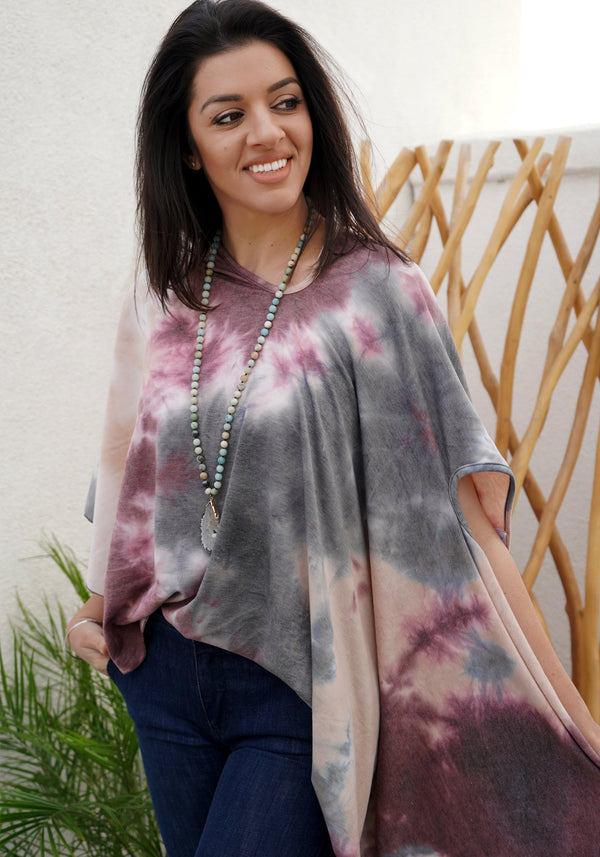 LONG SHAWL - TIE DYE - OLIVE PLUM