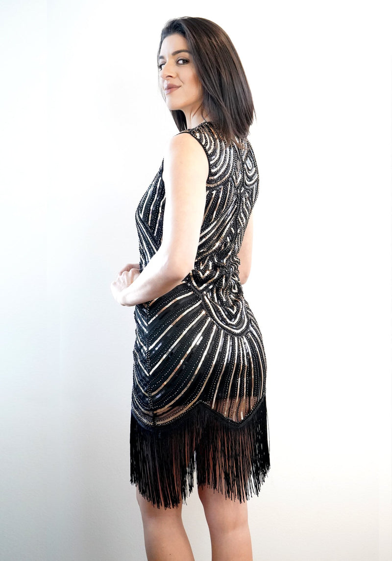 ZENA CAP SLEEVE COUNTESS FRINGE DRESS