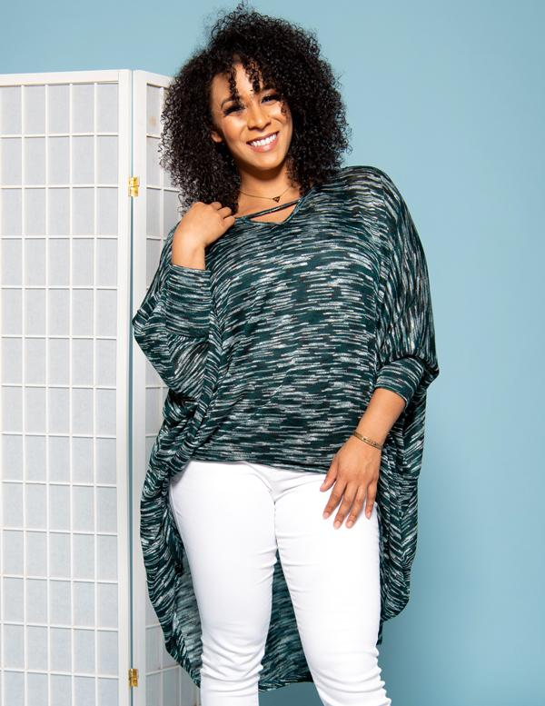 CARDI TOP - TEAL MULTI