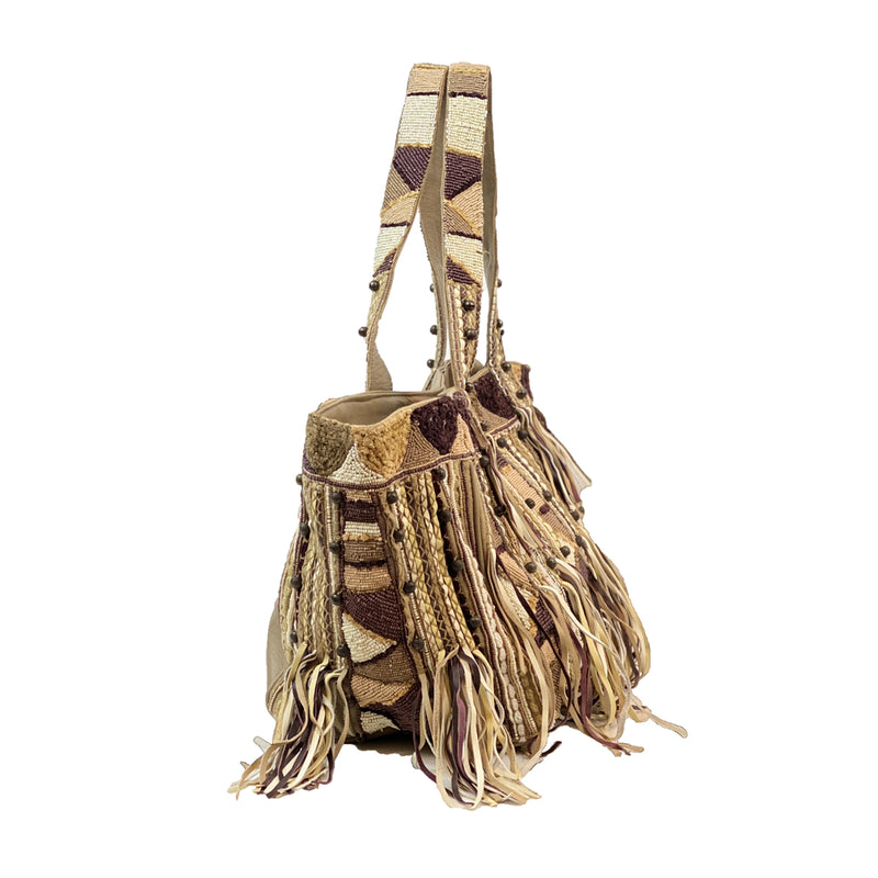 CLEVER CARRIAGE LEATHER SHOPPER WITH FRINGE & BEADWORK
