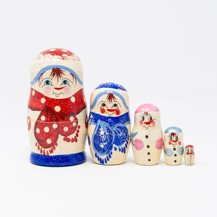 Red Frosted Snowman  Family