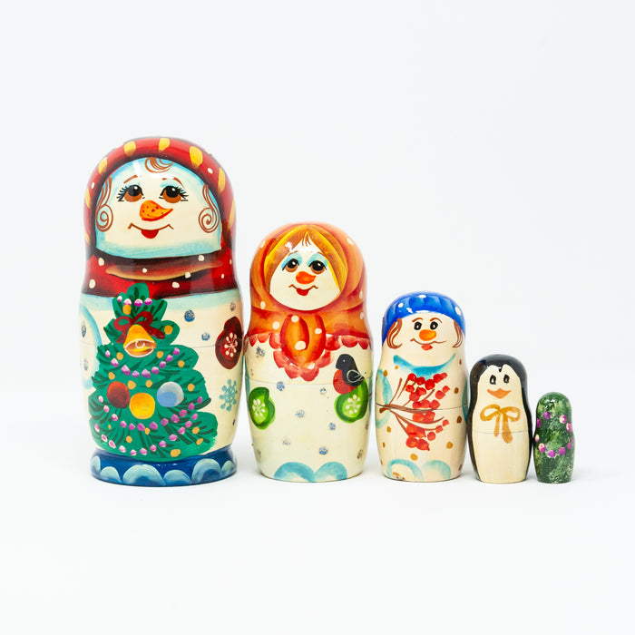Boy Snowman and Family