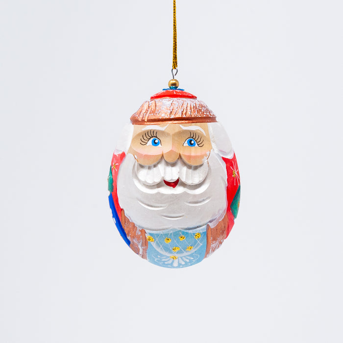 Hand-carved Egg-shaped Grandfather Frost Ornament