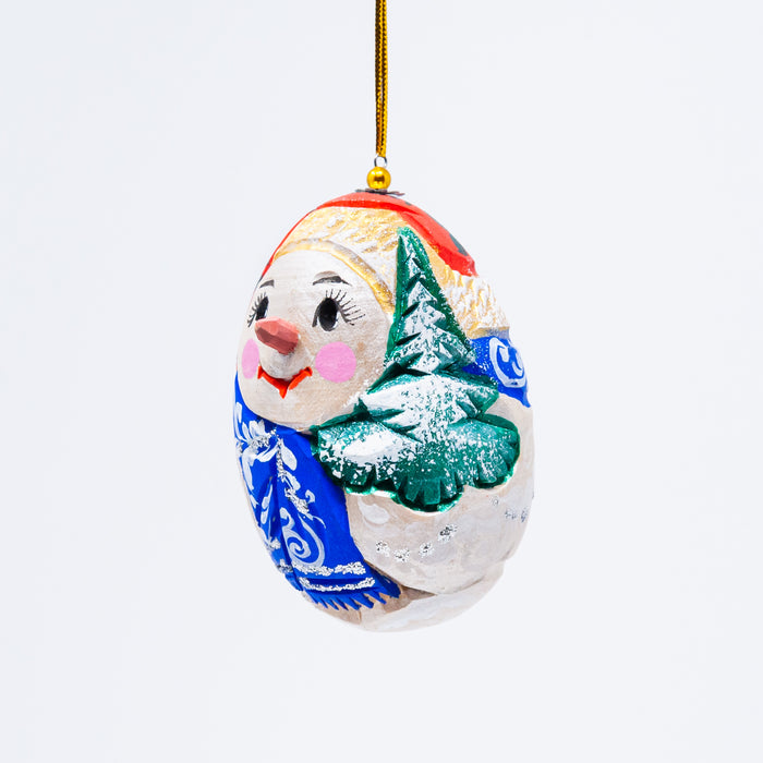 Hand-carved Egg-shaped Snowman Ornament