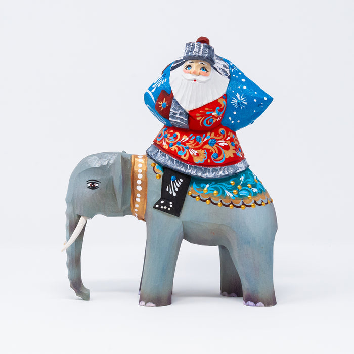 Hand-carved Grandfather Frost riding an Elephant