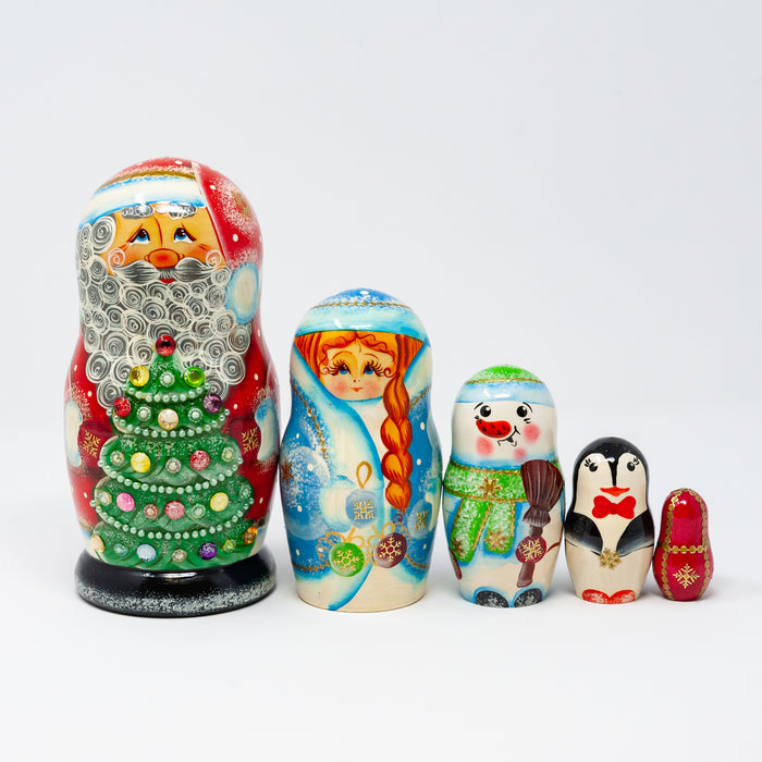 Grandfather Frost with Christmas Tree and Winter Characters