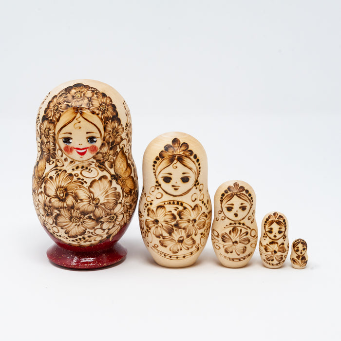 Wood-burned Ornamental Doll  with Floral Designs – Set of 5