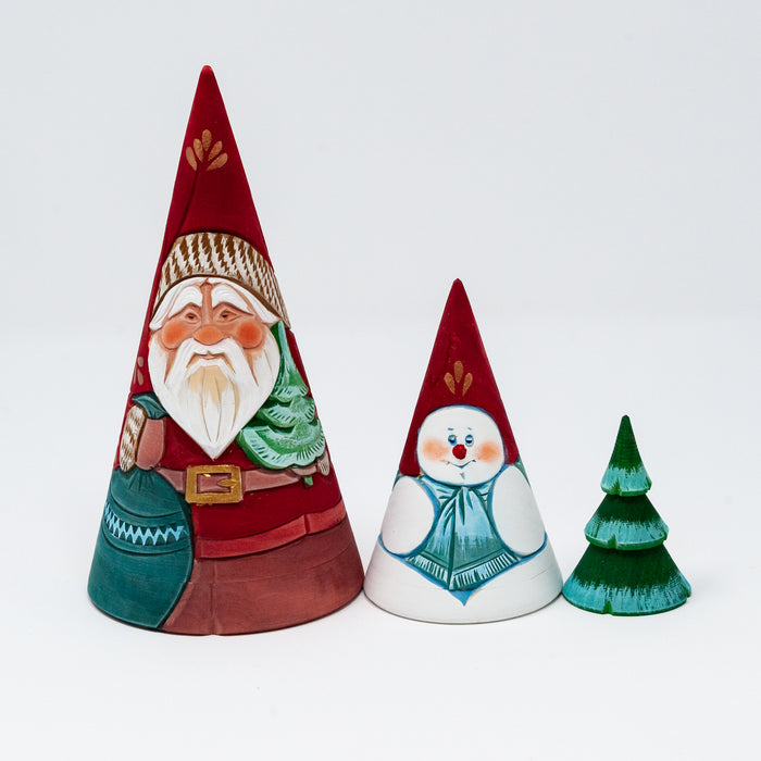 Hand-carved Conical Grandfather Frost (Two Design Options)