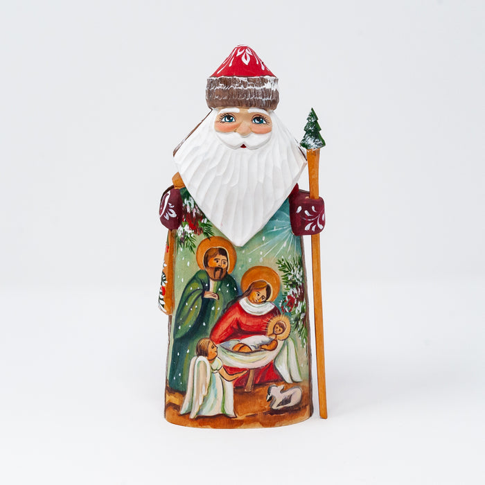 Hand-carved Grandfather Frost with Nativity Scene