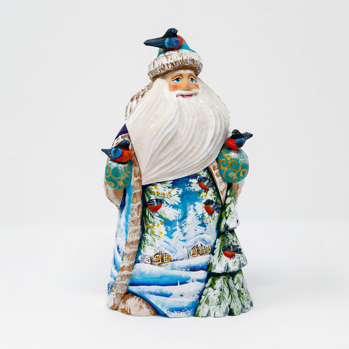Hand-carved Grandfather Frost with Birds and Winter Scenes