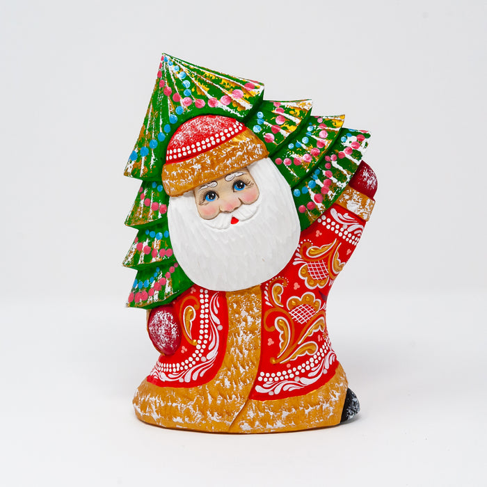 Hand-carved Grandfather Frost with a Tree over his Shoulder