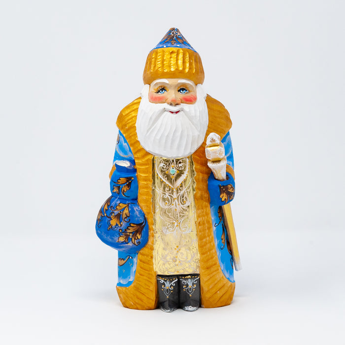 Hand-carved Blue and Gold Grandfather Frost